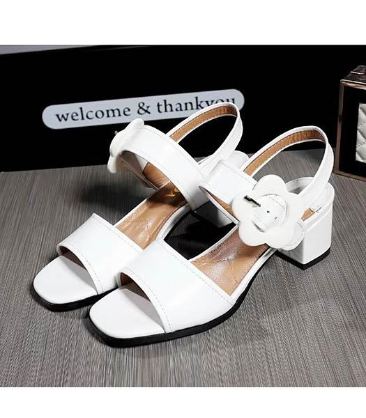 Prada White Sheepskin 4.5cm Low Heel Sandals