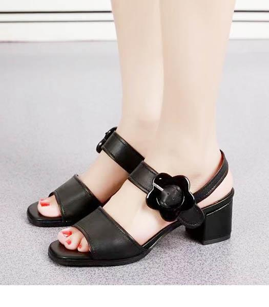 Prada Black Sheepskin 4.5cm Low Heel Sandals