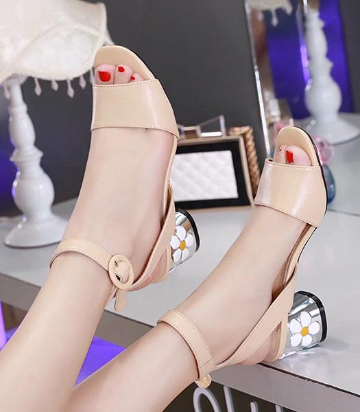 Prada Apricot Hot Style Sheepskin Leather Flower-heel Sandals Shoes