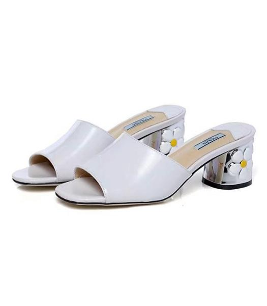 Prada Offwhite New Style Patent Leather Slippers Shoes