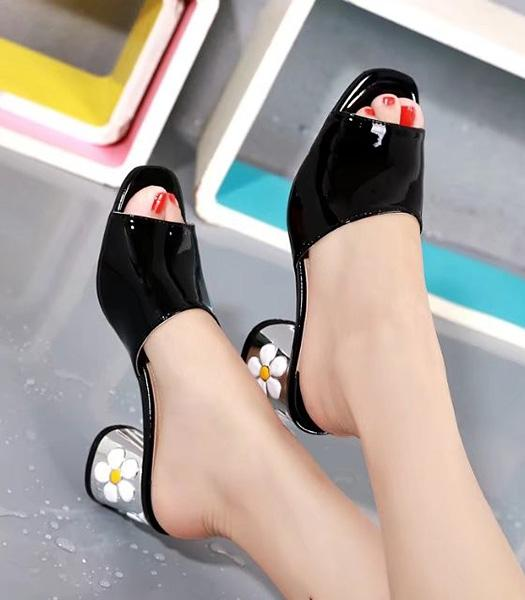 Prada Black New Style Patent Leather Slippers Shoes
