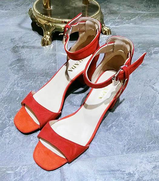 Prada Red Suede Leather Chunky Sandals