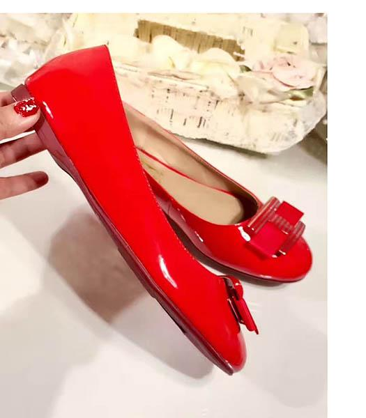 Ferragamo Red New Style Patent Leather Jeans Button Shoes
