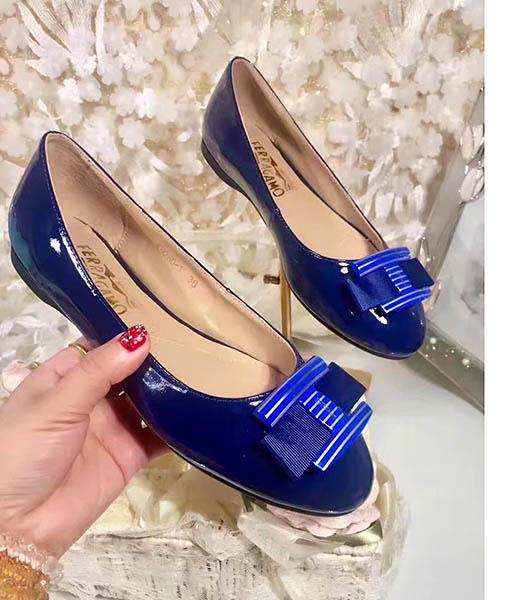Ferragamo Blue New Style Patent Leather Jeans Button Shoes
