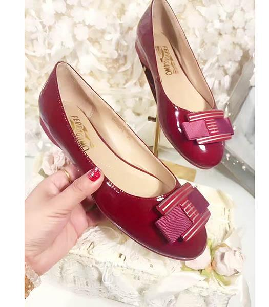 Ferragamo Wine Red New Style Patent Leather Jeans Button Shoes