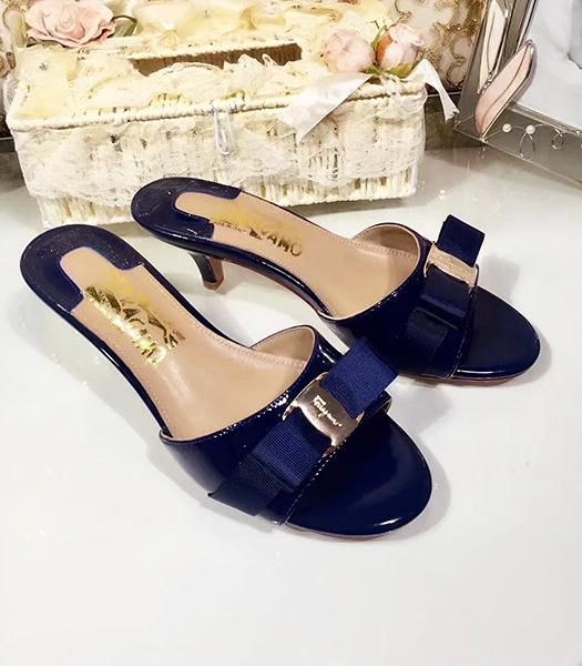 Ferragamo Dark Blue Patent Leather 5cm Mid-heel Slippers