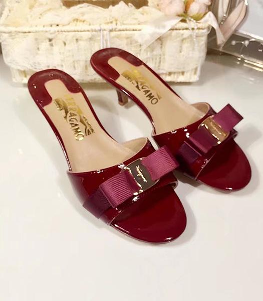 Ferragamo Wine Red Patent Leather 5cm Mid-heel Slippers
