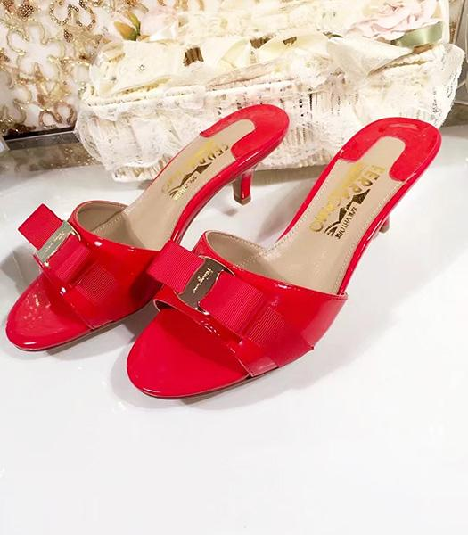 Ferragamo Red Patent Leather 5cm Mid-heel Slippers