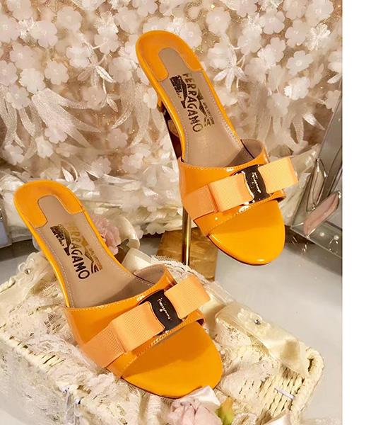 Ferragamo Orange Patent Leather 5cm Mid-heel Slippers