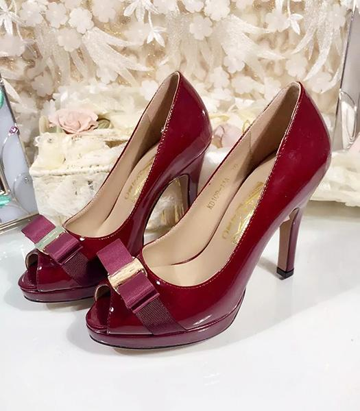 Ferragamo Wine Red Patent Leather Fish Head 10.5cm Pumps