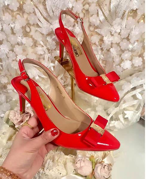 Ferragamo Red Patent Leather Pointed 7.5cm Sandals