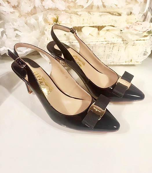 Ferragamo Black Patent Leather Pointed 7.5cm Sandals