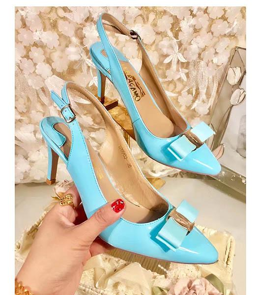 Ferragamo Blue Patent Leather Pointed 7.5cm Sandals