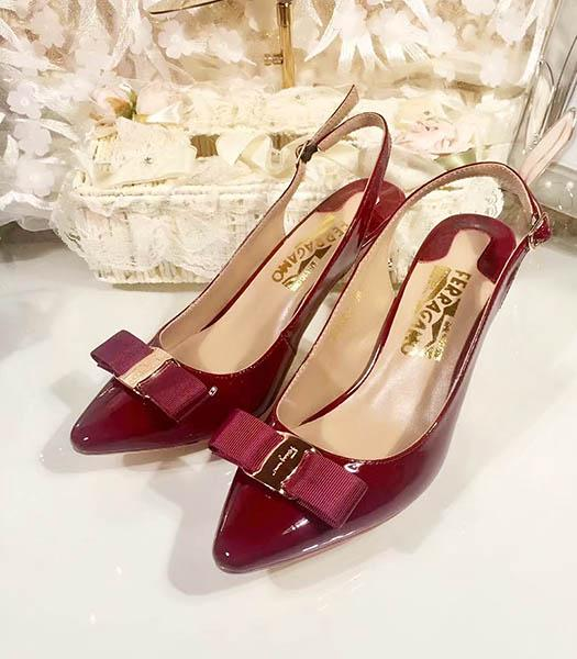 Ferragamo Wine Red Patent Leather Pointed 7.5cm Sandals
