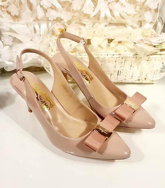 Ferragamo Nude Pink Patent Leather Pointed 7.5cm Sandals