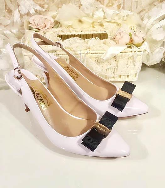 Ferragamo Offwhite Patent Leather Pointed 7.5cm Sandals