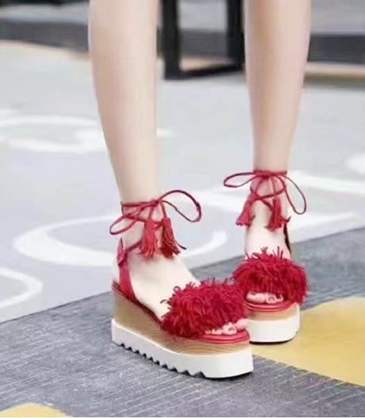 StellaMccartney Tassel Thick Sole Sandals Red