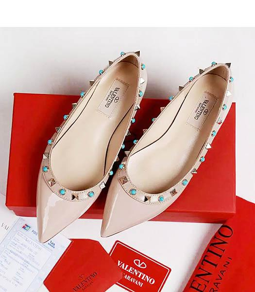 Valentino Nude Pink Patent Leather Colorful Rivets Casual Shoes