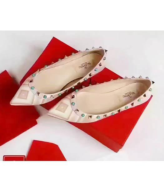 Valentino Pink Calfskin Colorful Rivets Casual Shoes