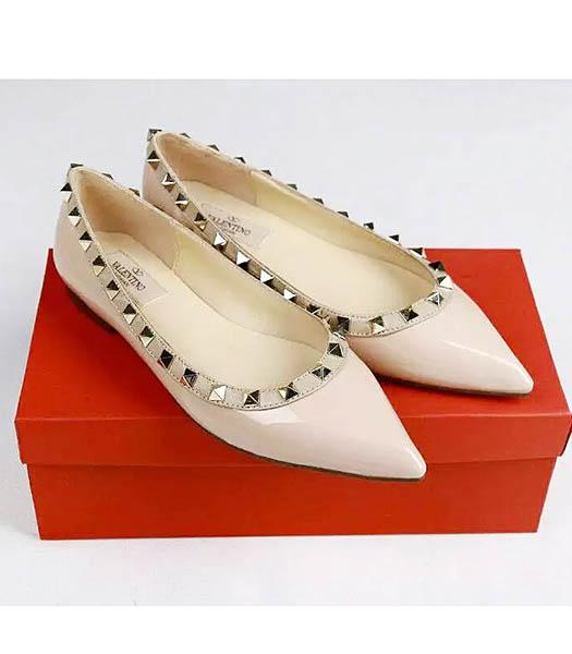 Valentino Light Pink Patent Leather Rivets Casual Shoes