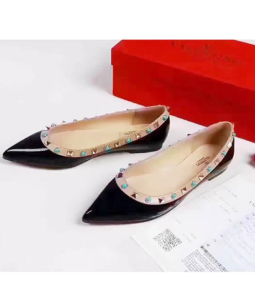 Valentino Black Patent Leather Colorful Rivets Casual Shoes