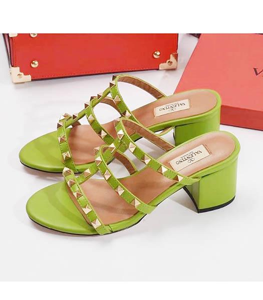 Valentino Apricot New Style Sheepskin Leather Heel 6cm Slippers