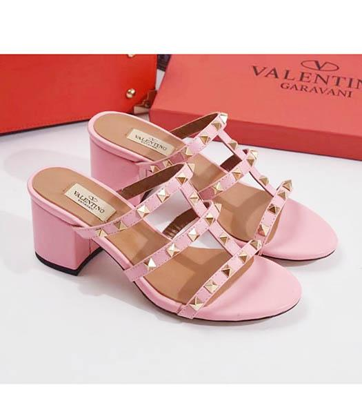 Valentino Pink New Style Sheepskin Leather Heel 6cm Slippers
