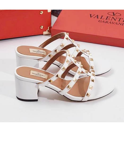 Valentino White New Style Sheepskin Leather Heel 6cm Slippers