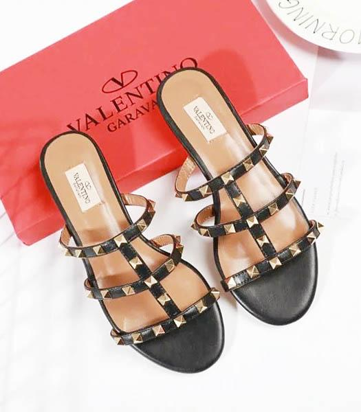 Valentino Black New Style Sheepskin Leather Slippers