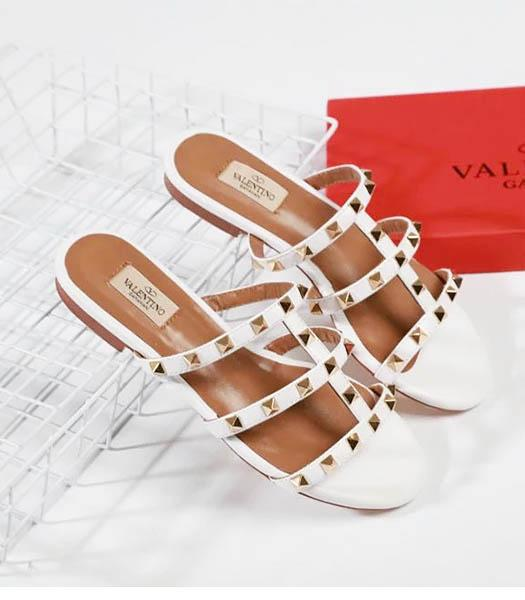 Valentino White New Style Sheepskin Leather Slippers