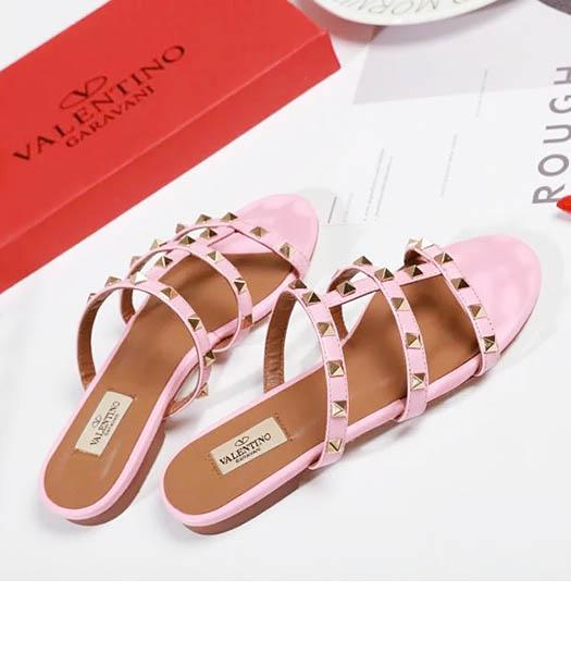 Valentino Pink New Style Sheepskin Leather Slippers