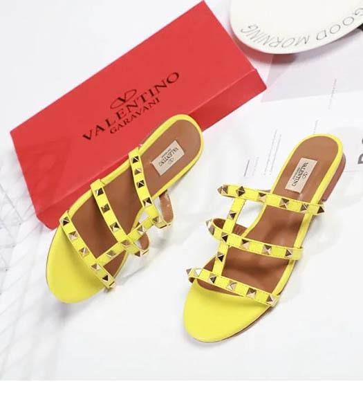 Valentino Yellow New Style Sheepskin Leather Slippers