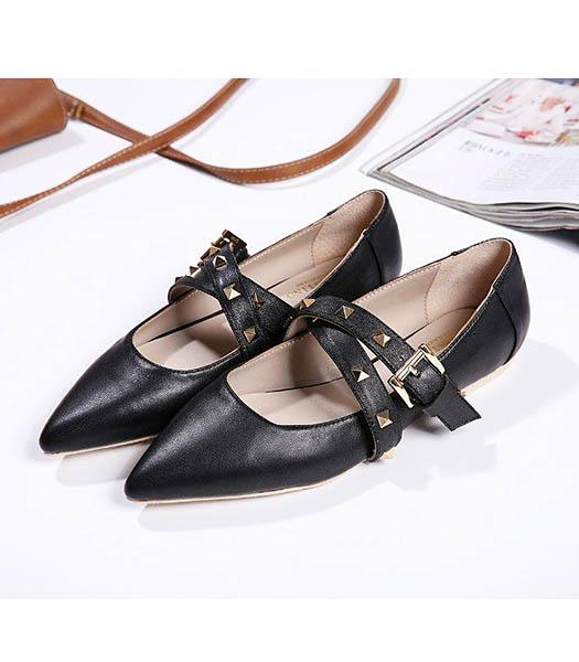 Valentino Black Leather Rivets Casual Shoes