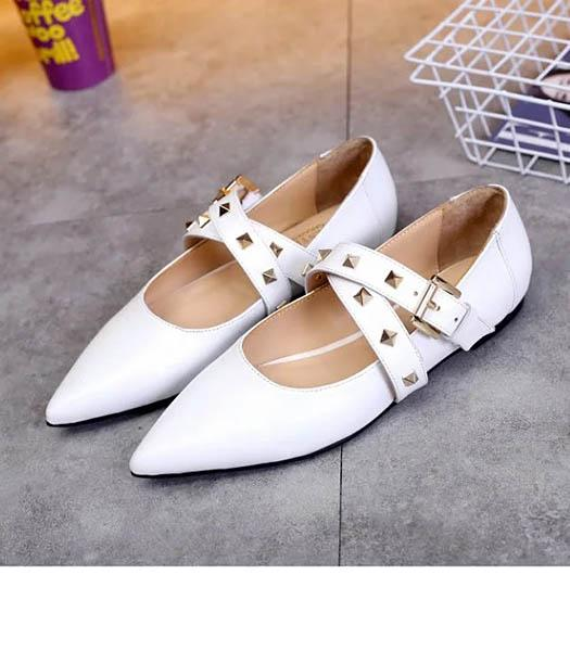Valentino White Leather Rivets Casual Shoes