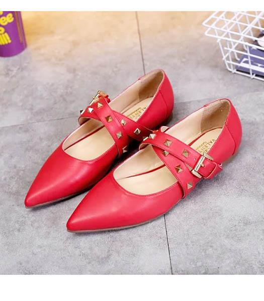 Valentino Red Leather Rivets Casual Shoes