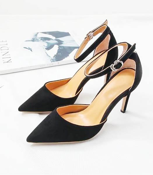 Valentino Black Suede Leather 9cm High Heel Sandals