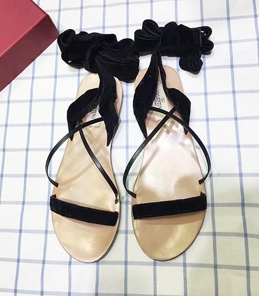 Valentino Black Suede Leather Bandage Sandals Shoes