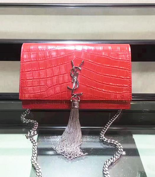 YSL Original Red Croc Veins Leather Fringed Small Bag