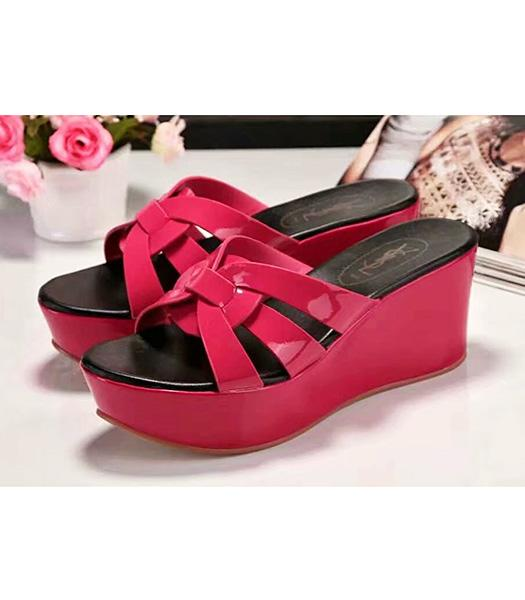 Yves Saint Laurent Patent Leather Wedges Sandals Fuchsia