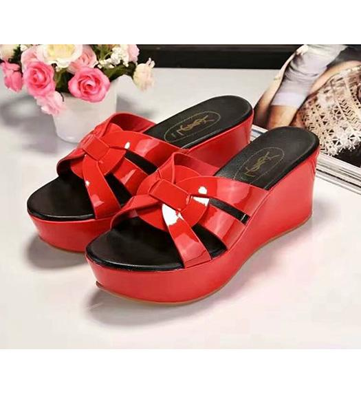Yves Saint Laurent Patent Leather Wedges Sandals Red