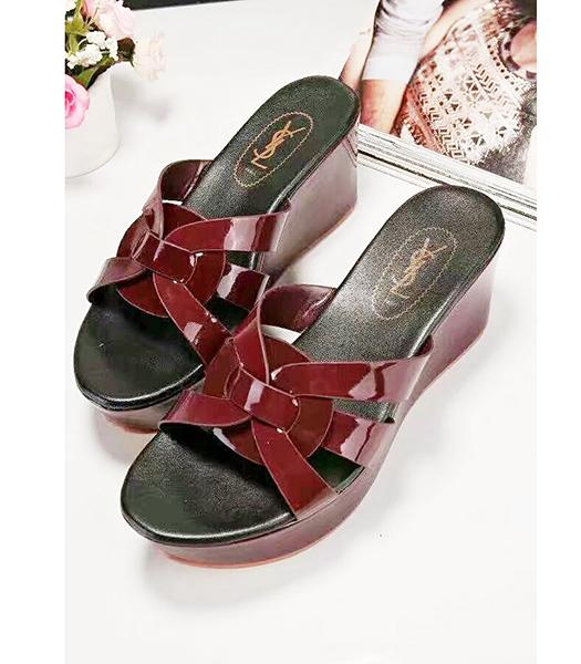 Yves Saint Laurent Patent Leather Wedges Sandals Jujube Red