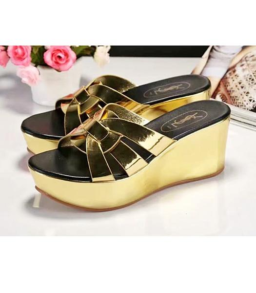 Yves Saint Laurent Patent Leather Wedges Sandals Gold