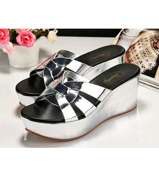 Yves Saint Laurent Patent Leather Wedges Sandals Silver