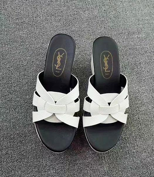 Yves Saint Laurent New Style Wedges Sandals White
