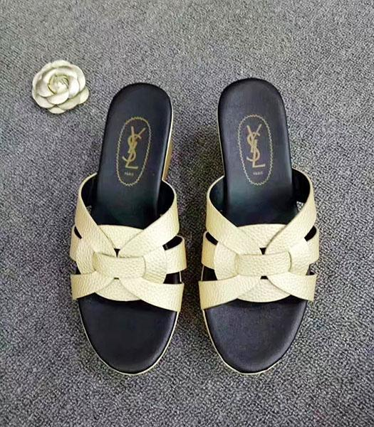 Yves Saint Laurent New Style Wedges Sandals Apricot