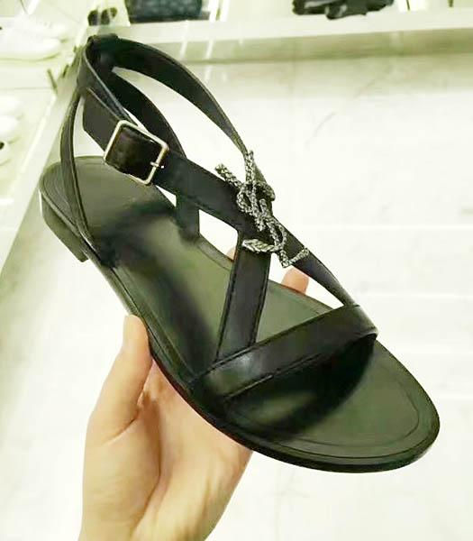 Yves Saint Laurent Black Leather Flat Sandals