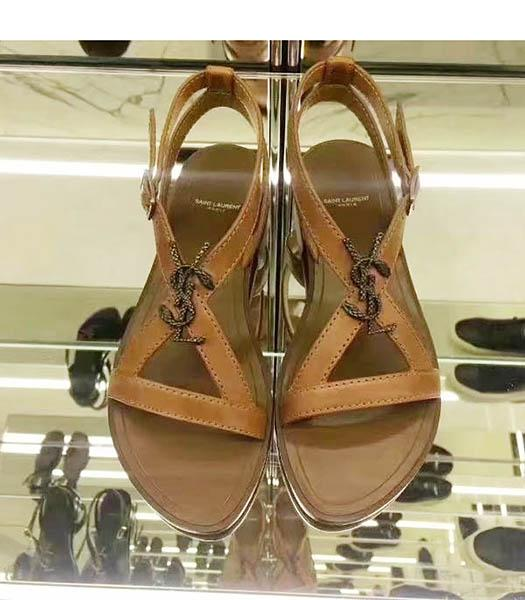 Yves Saint Laurent Coffee Leather Flat Sandals