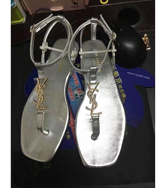 Yves Saint Laurent Calfskin Leather Flat Sandals Silver