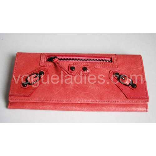 Balenciaga Giant Compagnon Wallet in Peach Red 09006