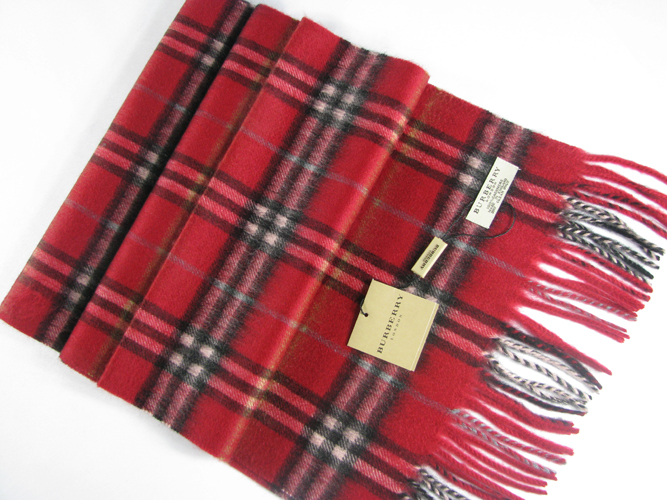 Burberry Check Cashmere Scarf_Red_BUC01